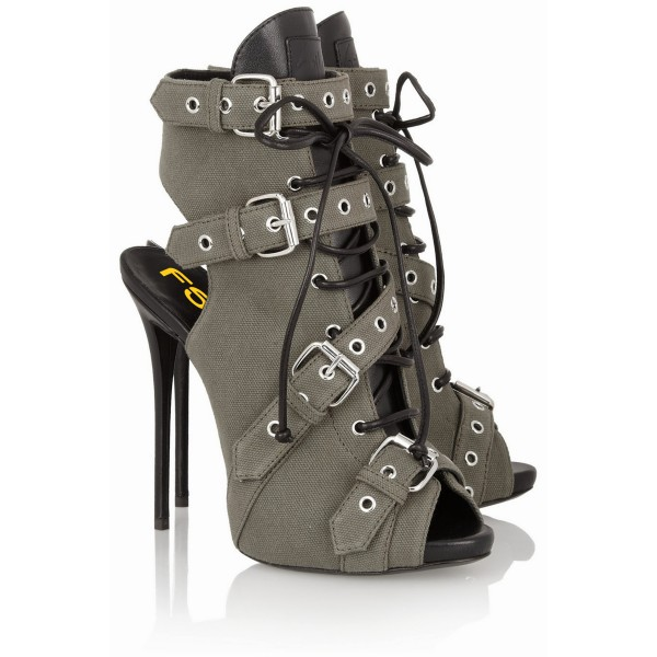 Grey Lace up Boots Peep Toe Slingback Ankle Booties with Buckles image 3