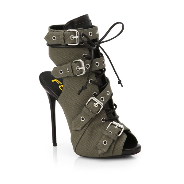 d5b0c6631eb061 ... Grey Lace up Boots Peep Toe Slingback Ankle Booties with Buckles image  4 ...