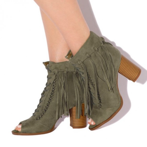 Olive Green Fringe Boots Block Heel Peep Toe Suede Ankle Boots image 1