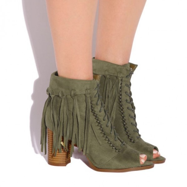 Olive Green Fringe Boots Block Heel Peep Toe Suede Ankle Boots image 2