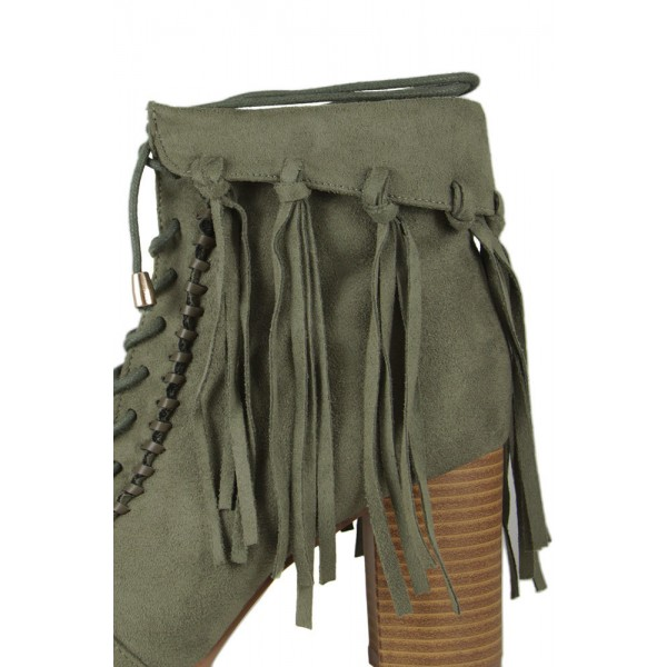 Olive Green Fringe Boots Block Heel Peep Toe Suede Ankle Boots image 3