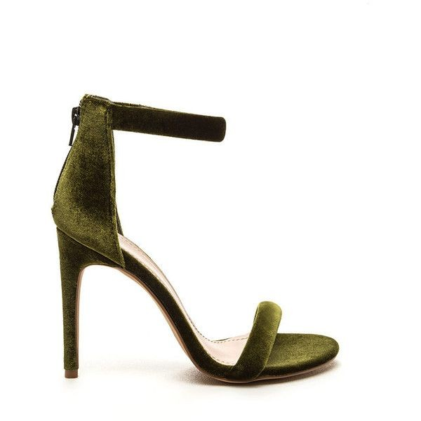 615b168ab92 Olive Green Velvet Stiletto Heels Ankle Strap Summer Sandals