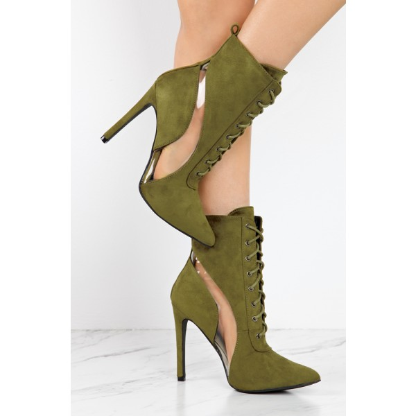 Olive Lace Up Boots Suede Stiletto Heels Retro Pointy Toe Ankle Boots image 3