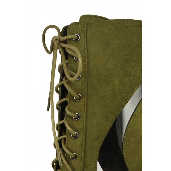 Olive Lace Up Boots Suede Stiletto Heels Retro Pointy Toe Ankle Boots image 2