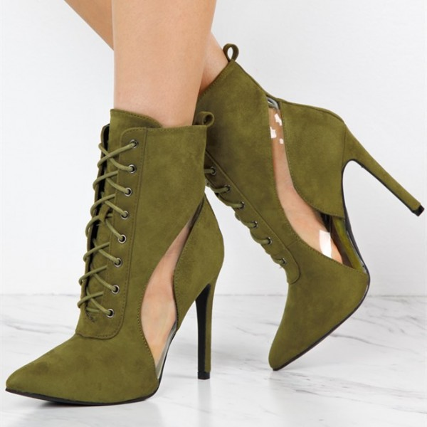 Olive Lace Up Boots Suede Stiletto Heels Retro Pointy Toe Ankle Boots image 1