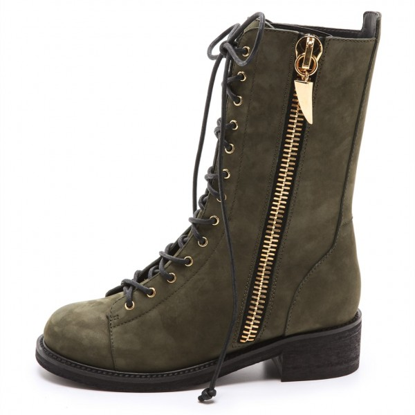 Dark Green Combat Boots Lace up Round Toe Ankle Boots by FSJ image 3