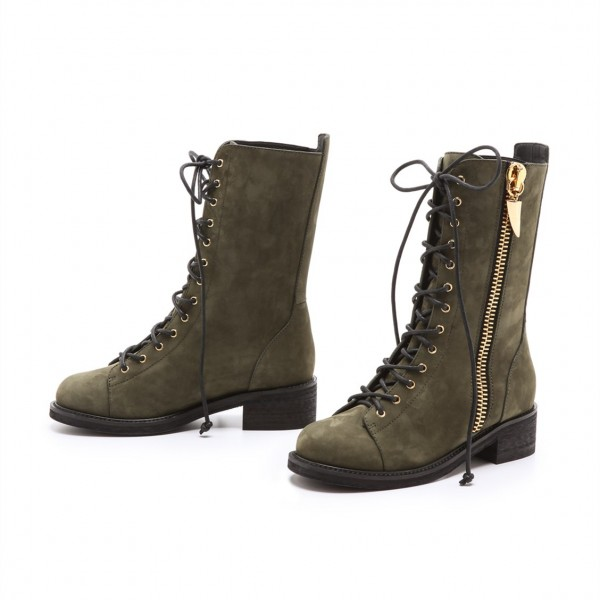 Dark Green Combat Boots Lace up Round Toe Ankle Boots by FSJ image 2