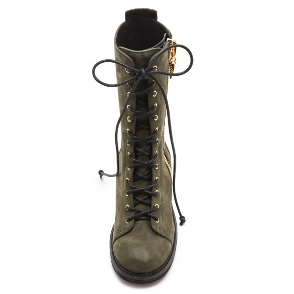 Dark Green Combat Boots Lace up Round Toe Ankle Boots by FSJ image 5