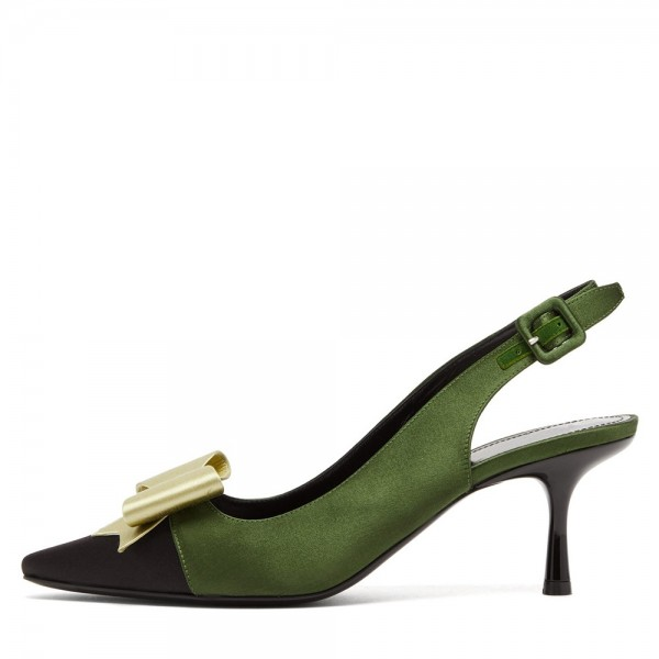 Olive Satin Pointy Toe Bow Slingback Pumps Kitten Heels Pumps image 2