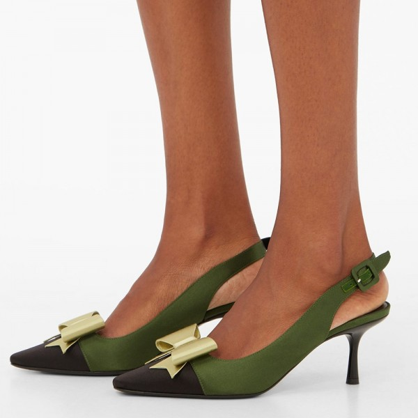 Olive Satin Pointy Toe Bow Slingback Pumps Kitten Heels Pumps image 1
