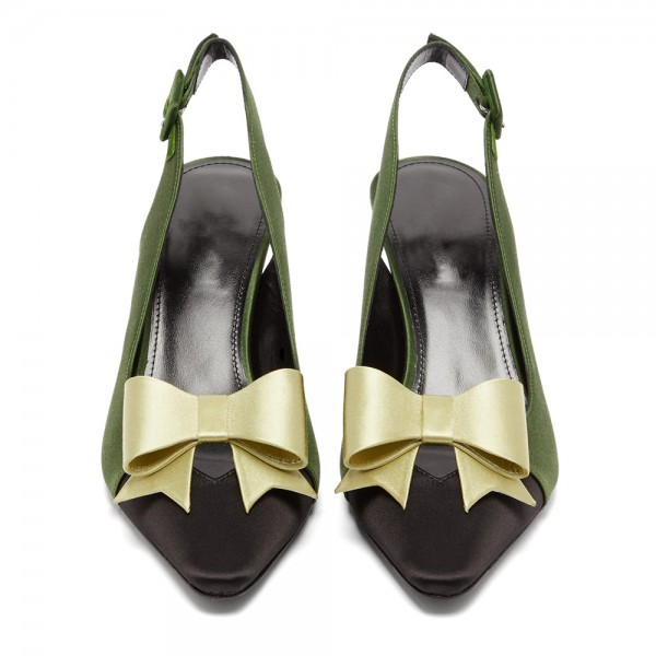 Olive Satin Pointy Toe Bow Slingback Pumps Kitten Heels Pumps image 3
