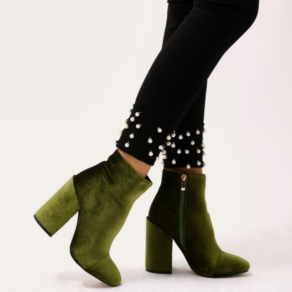 Olive Velvet Block Heel Boots Side Zipper Ankle Booties image 4