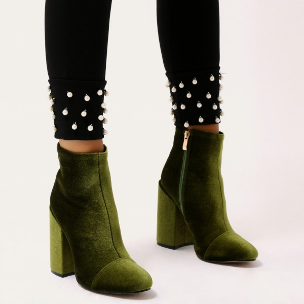 a2a4fc05f75 Olive Velvet Block Heel Boots Side Zipper Ankle Booties