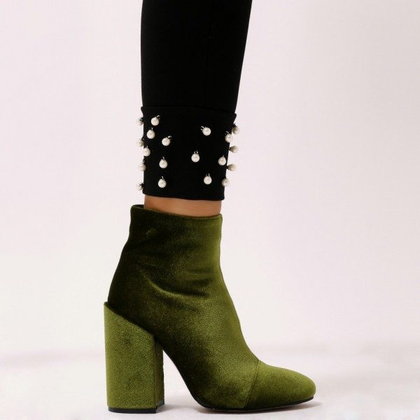 Olive Velvet Block Heel Boots Side Zipper Ankle Booties image 6