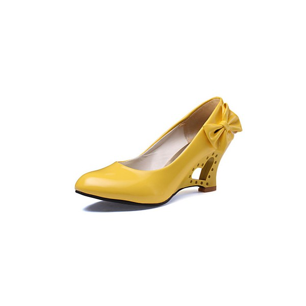 Women's Yellow Bow Sweet Chunky Heels Pumps image 1