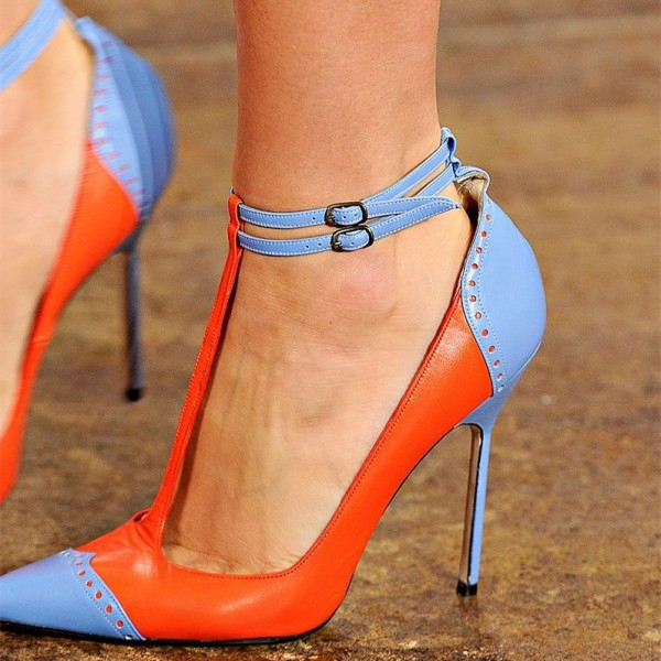 Orange and Blue Pointy Toe T Strap Heels Stilettos High Heel Shoes image 1