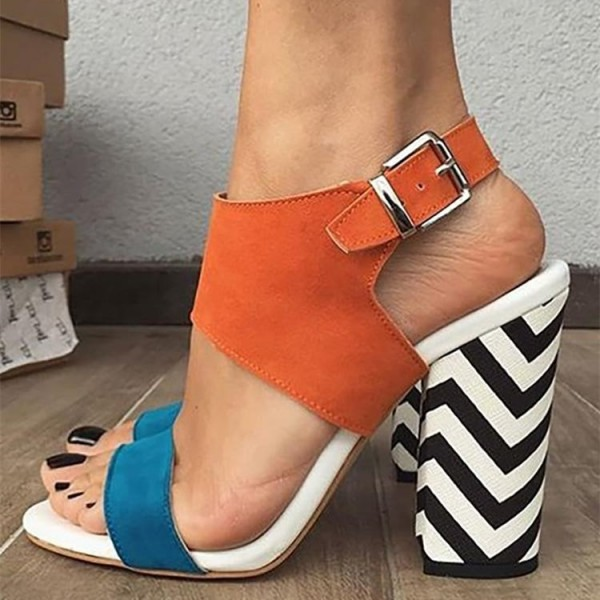 9e5a0d0ca93 Orange and Blue Slingback Block Heel Sandals image 1 ...