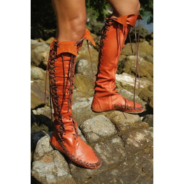 Women's Orange Lace-up Strappy Flats Vintage Boots image 4