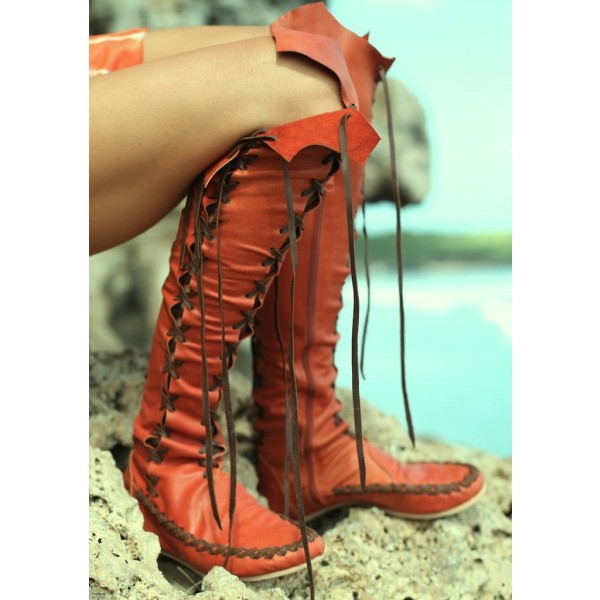 Women's Orange Lace-up Strappy Flats Vintage Boots image 2