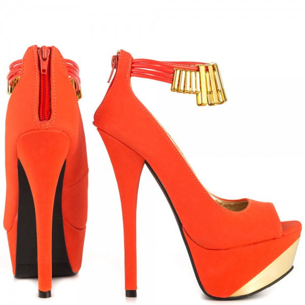 Orange Peep Toe Ankle Strap Heels Gold Metal Details Platform Pumps image 3