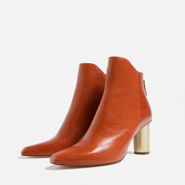 Orange Boots Fashion Block Heel Ankle Boots for Work US Size 3-15 image 3