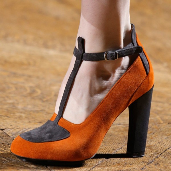 Orange and Grey Suede Chunky Heels T Strap Pumps by FSJ image 1