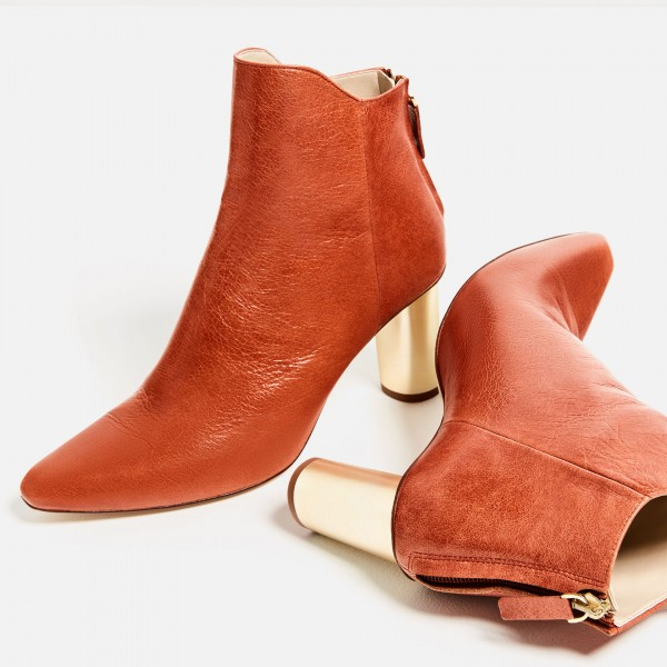 Orange Boots Fashion Block Heel Ankle Boots for Work US Size 3-15 image 1