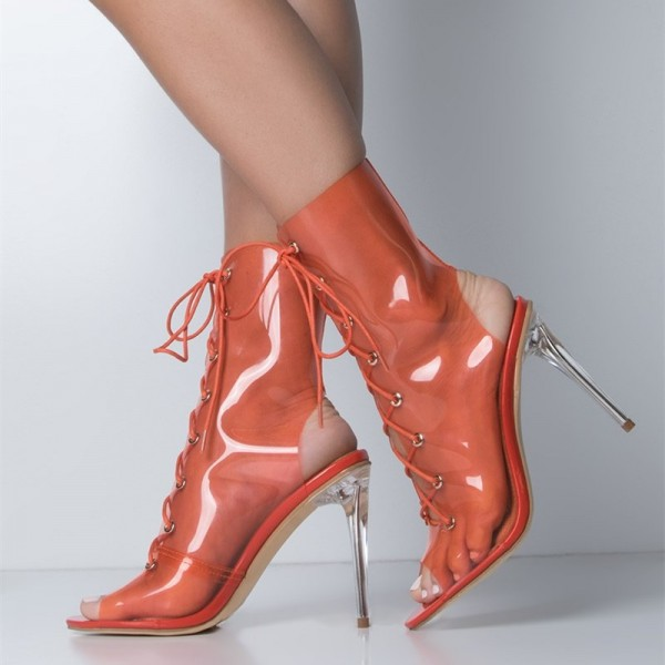 bc9e96c781fe Orange Clear Heels Summer Boots Lace up Peep Toe Slingback Ankle Boots  image 1 ...