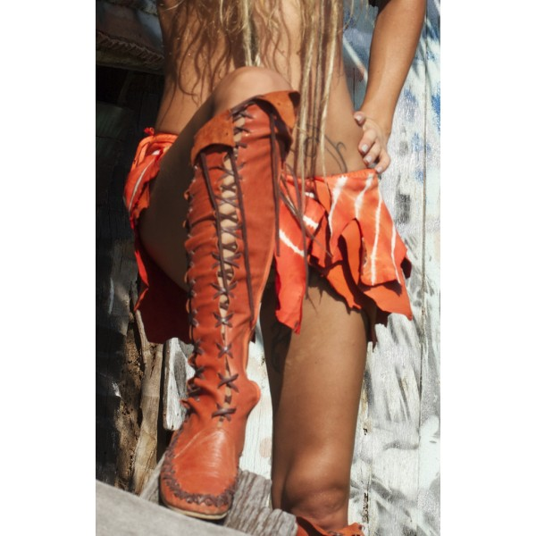 Women's Orange Lace-up Strappy Flats Vintage Boots image 3
