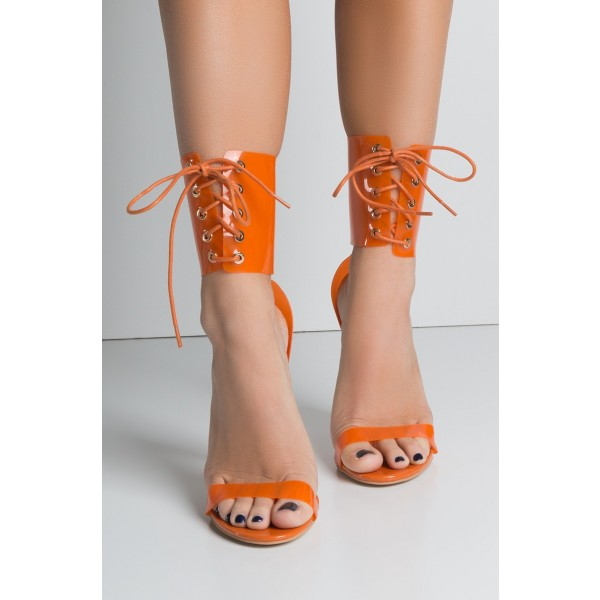 Orange Lace up Sandals Clear Heels Open Toe Summer Sandals image 2