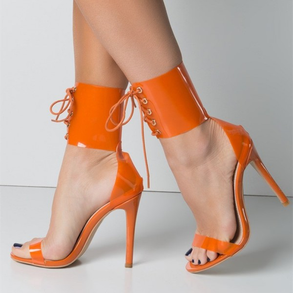 Orange Lace up Sandals Clear Heels Open Toe Summer Sandals image 1