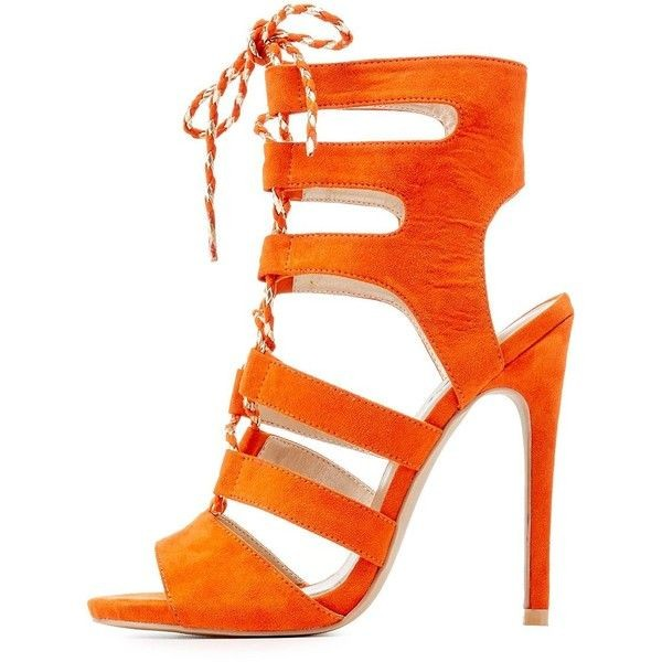 Orange Lace up Sandals Suede Stiletto Heels Slingback Sandals image 1