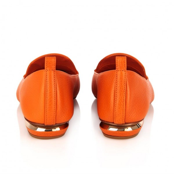 Orange Pointy Toe Low Heel Loafers for Women image 2