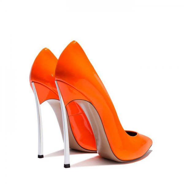 FSJ Shoes Orange Super Stiletto Heels Pointy Toe Patent Leather Pumps  image 3