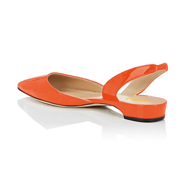 Orange Patent Leather Slingback Shoes Pointy Toe Comfortable Flats image 3