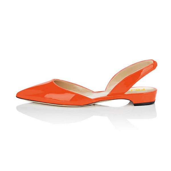 Orange Patent Leather Slingback Shoes Pointy Toe Comfortable Flats image 2
