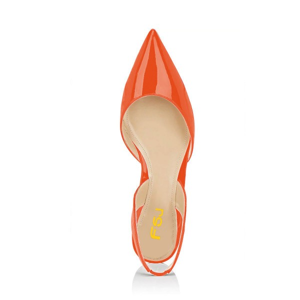 Orange Patent Leather Slingback Shoes Pointy Toe Comfortable Flats image 4