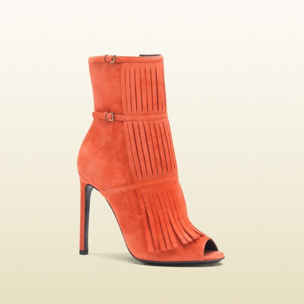 Women's Suede Orange Peep Toe Buckle Stiletto Heel Fashion Boots image 3