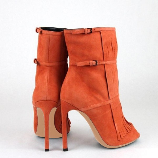 Women's Suede Orange Peep Toe Buckle Stiletto Heel Fashion Boots image 5