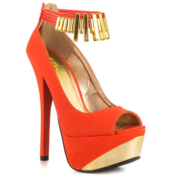 Women's Orange Peep Toe Stiletto Heel Platform Ankle Strap Pumps image 6