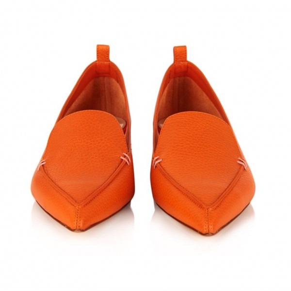 Orange Pointy Toe Low Heel Loafers for Women image 3