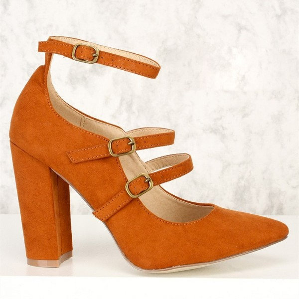 Orange Pointy Toe Mary Jane Pumps Chunky Heels High Heel Shoes image 3