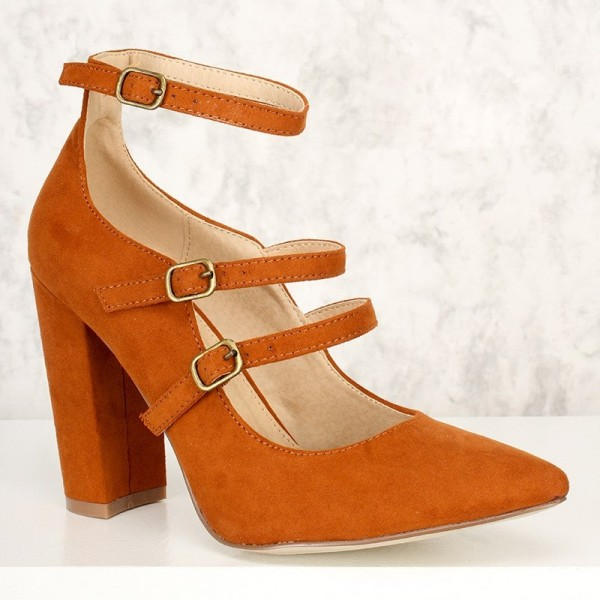 Orange Pointy Toe Mary Jane Pumps Chunky Heels High Heel Shoes image 2