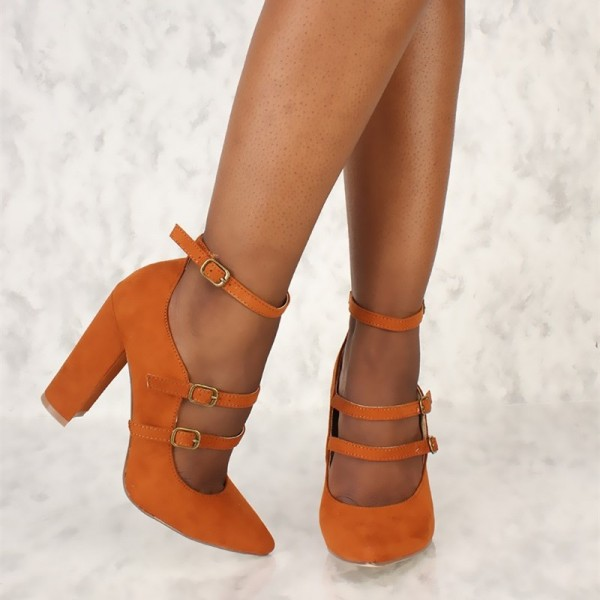 Orange Pointy Toe Mary Jane Pumps Chunky Heels High Heel Shoes image 4