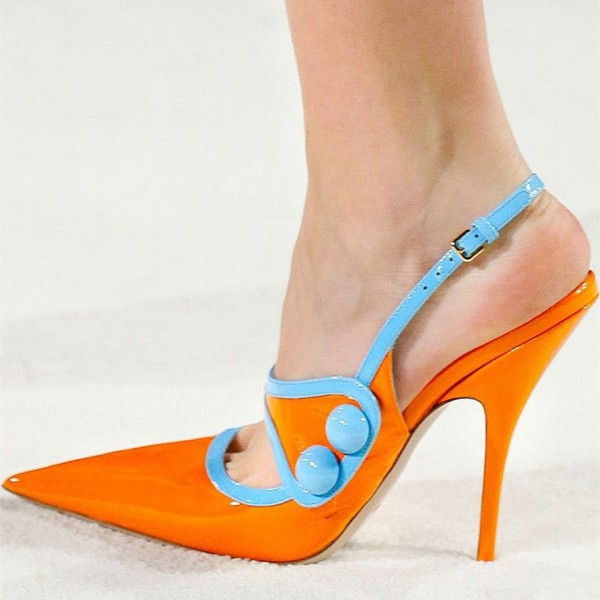 Orange Slingback Pumps Patent Leather Pointy Toe Stiletto Heels image 1