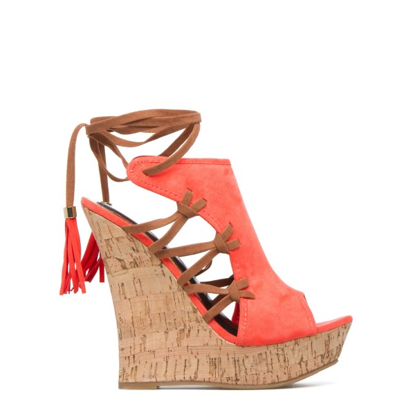 Orange Cork Wedges Ankle Wrap Strappy Peep Toe Suede Platform Sandals image 3