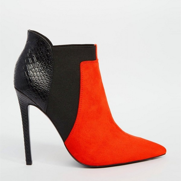 Red and Black Suede Stiletto Boots Python Ankle Booties for Women image 2