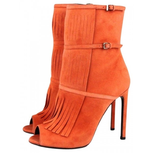 Women's Suede Orange Peep Toe Buckle Stiletto Heel Fashion Boots image 2