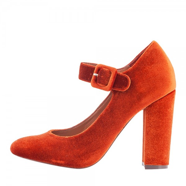 a5250d4fca2bb Orange Velvet Mary Jane Pumps Round Toe Chunky Heels Vintage Shoes