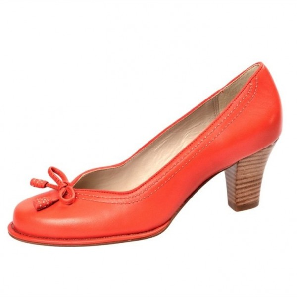 Orange Vintage Heels Square Toe Retro Chunky Heel Pumps image 1